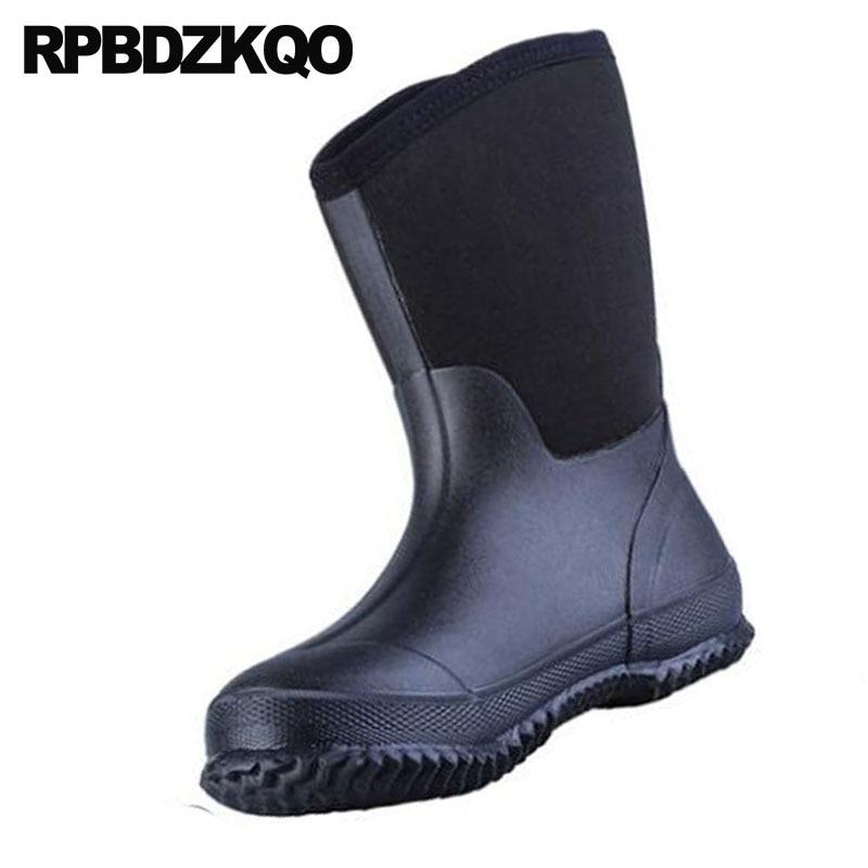Barato Impermeável Sapatos Deslizar Homens Meados Rainboots De Chuva Size Plus Borracha Queda Botas Pvc 2018 Moda Sobre Preto Bezerro Dos Altas Patchwork 1dR1Sqx