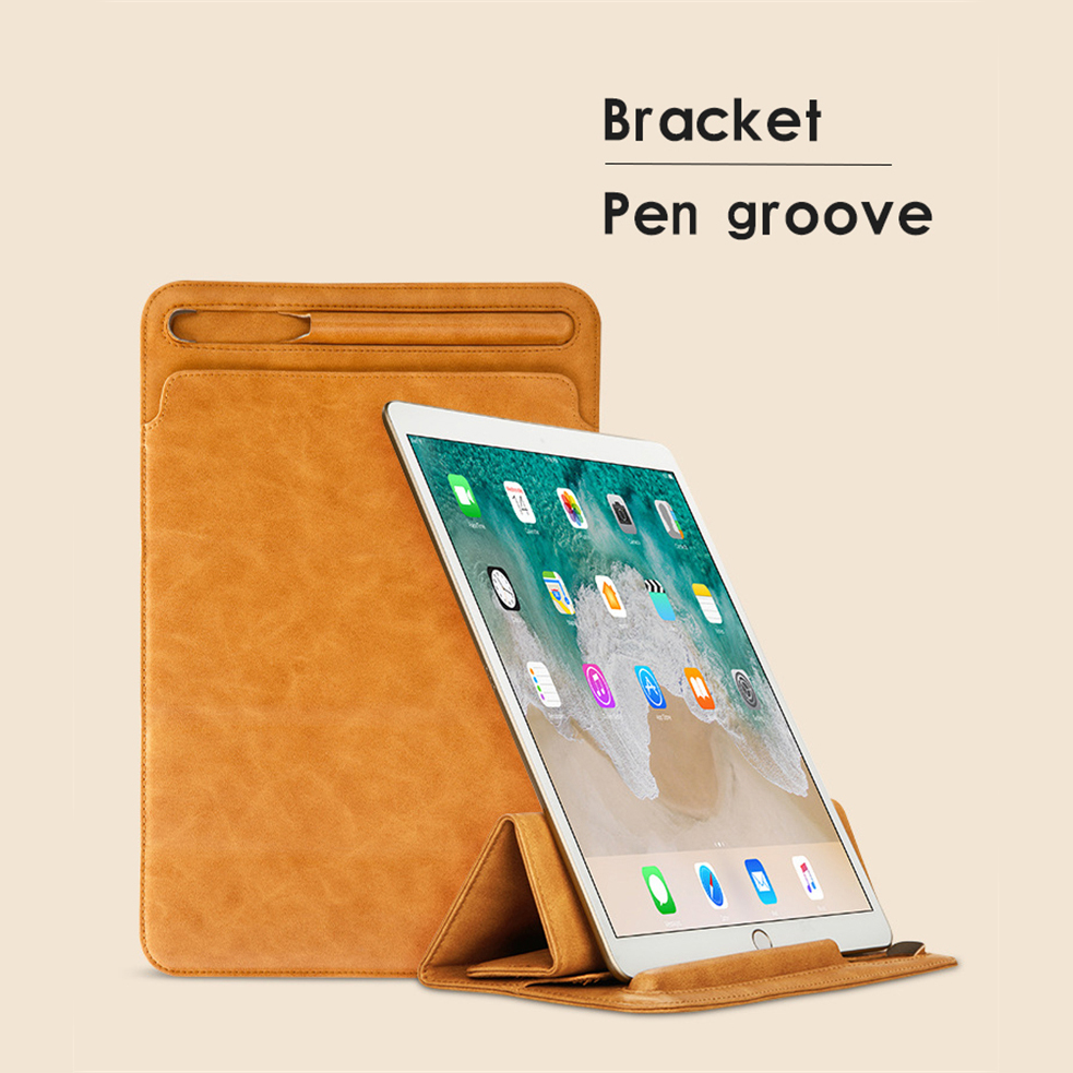 Leather Sleeve Protective Bag Cases For IPad Pro 10.5 12.9 Business Pouch Bag Pocket Sleeve Computer Package Soft TPU Cases batwing sleeve pocket side curved hem textured dress