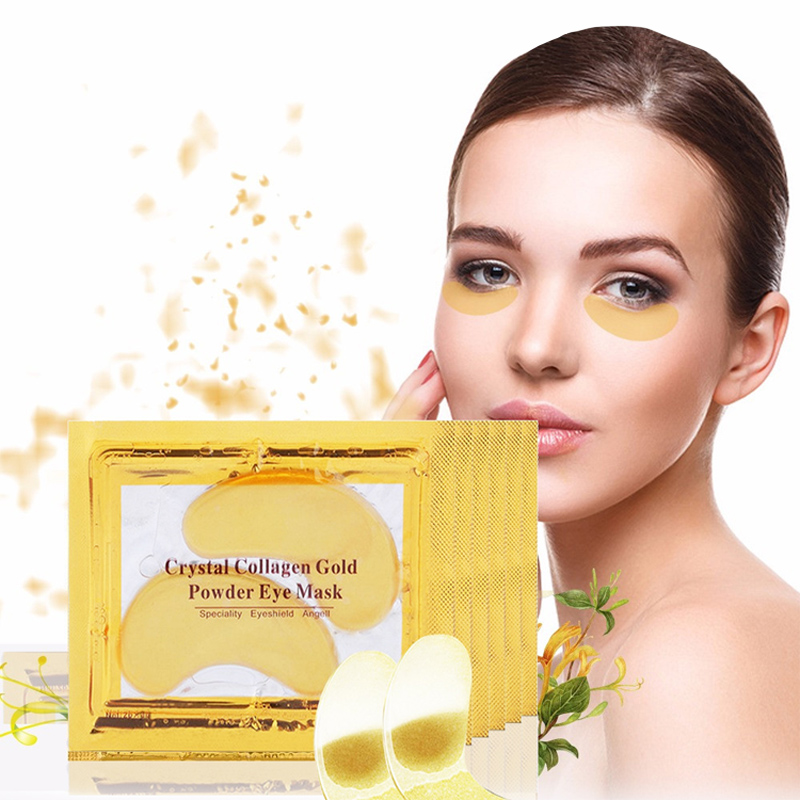 2015 Hot ! 10pcs/Lot Natural Crystal Collagen Gold Powder Eye Mask, Anti Aging Eliminates Dark Circles And Fine Lines Skin Care