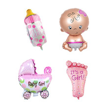 4pcs Mini globos foil balloons Baby Boy air Balloons 1th baby stroller ball for girl Birthday inflatable Party Decorations Kids