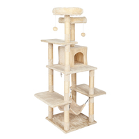 Pet Cat Tree Tower with a Condo Two Platforms Sisal Scratching Posts Hammock Pet House Cat Activity Tower