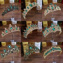 Luxury Green Crystal Baroque Diadem Rhinestone Bridal Crowns And Tiaras Headband For Wedding Party Prom Pageant Hair Accessories недорого