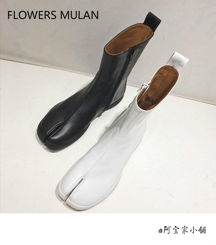 Genuine Leather Split toe Women Ankle Boots Casual Flats Platform Rain Boots Side Zip Fashion Catwalk Fall Botas Mujer 2018