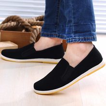 Men Canvas Shoes Loafers Man Sneakers Casual Shoes Black Flat Slip On