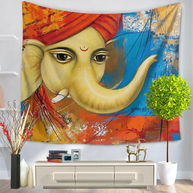 Wholeasale Customized Cartoon Series Yoga Elephant Tapestry Home ...