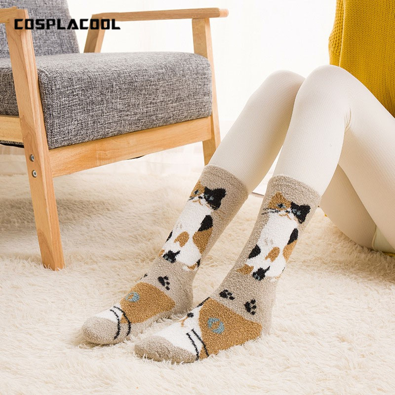 cosplacool Socks home Sleep Panda/cat/puppy Floor Socks Women Kawaii Warm Thick Sokken Coral Lady Funny Socks Winter Calcetines Mujer