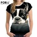 FORUDESIGNS Cute 3D Dog Pattern T-shirt Women Fashion Tshirt Animal Prints Summer Short Sleeved Tees Top Woman Shirts Cropped
