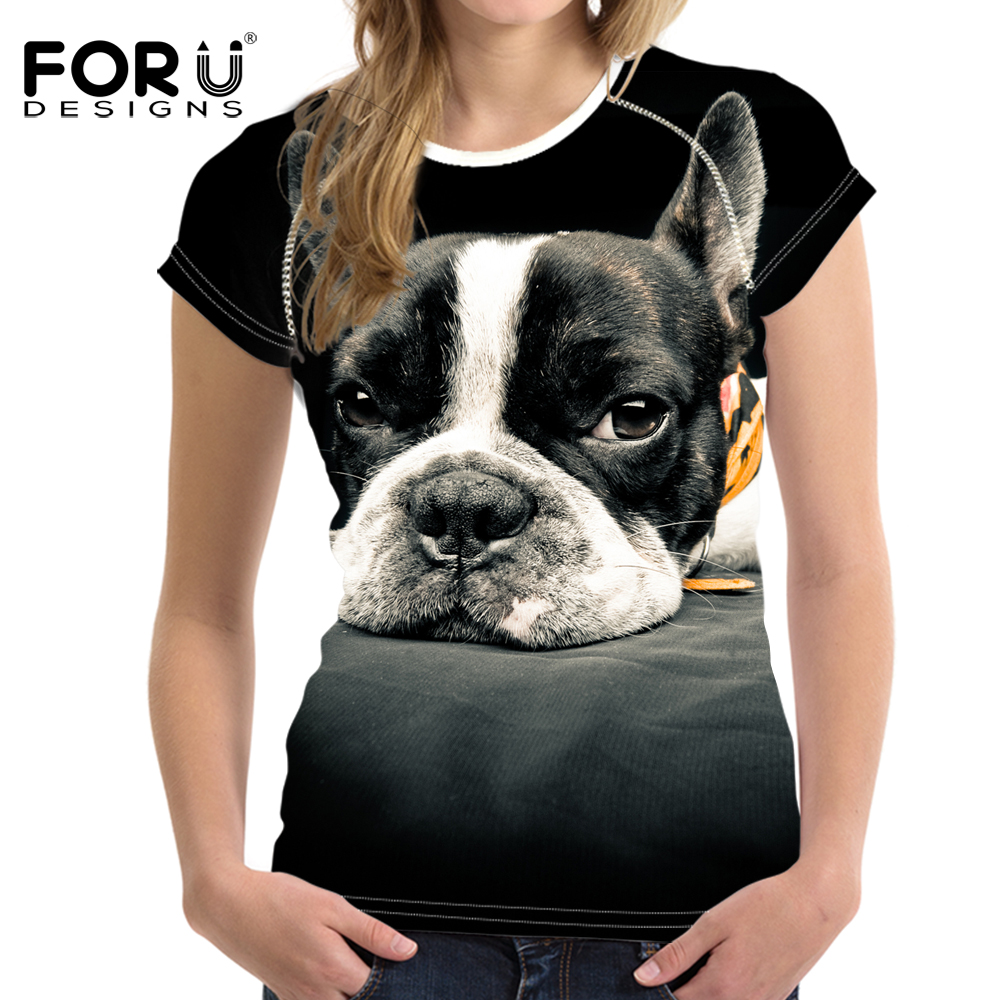 FORUDESIGNS Cute 3D Tummy Pug Dog T-shirt Women Black Friday T shirts Animal Print Summer Short Sleeve Tee Top Woman Shirt Crop ...