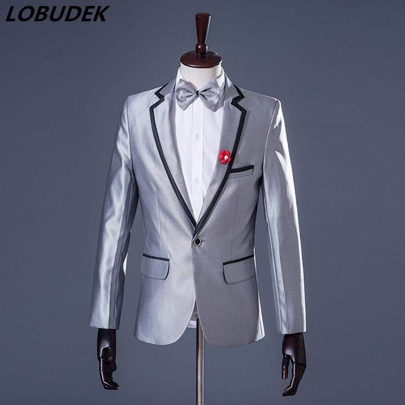 Male Blazers Casual Coat Prom Party Nightclub Singer Host Stage Costume Men Wedding Groom Studio Performance Clothing