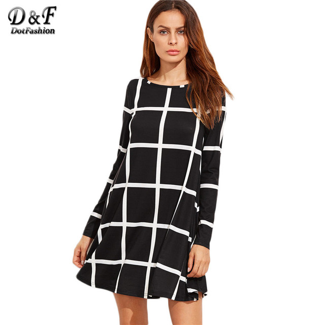Dotfashion Woman's Fashion Fall Loose Dress Casual Brand Korean Women Dress Winter Black Grid Long Sleeve Swing Dress