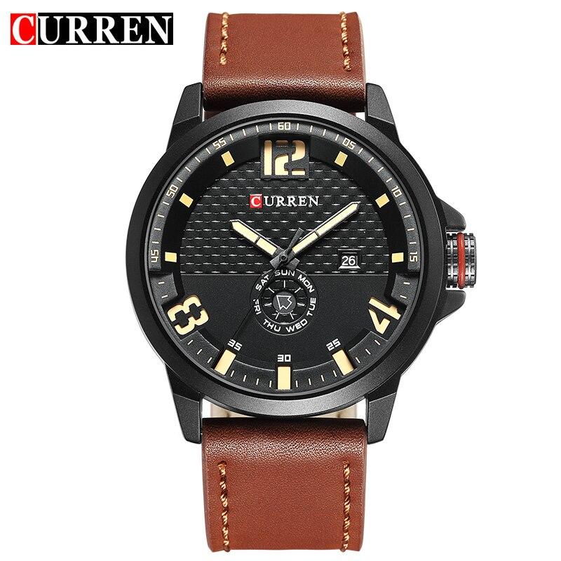 Prix pour CURREN marque haut nouveau 2017 mode casual quartz noir montre-bracelet hommes en cuir montres bracelet en cuir rond Quartz Calendrier 8253