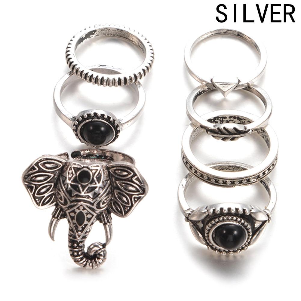 Hot Vintage Elephant Midi Rings Set For Women Tibetan Antique Silver Color 7pcs/Set Boho Ring Jewelry