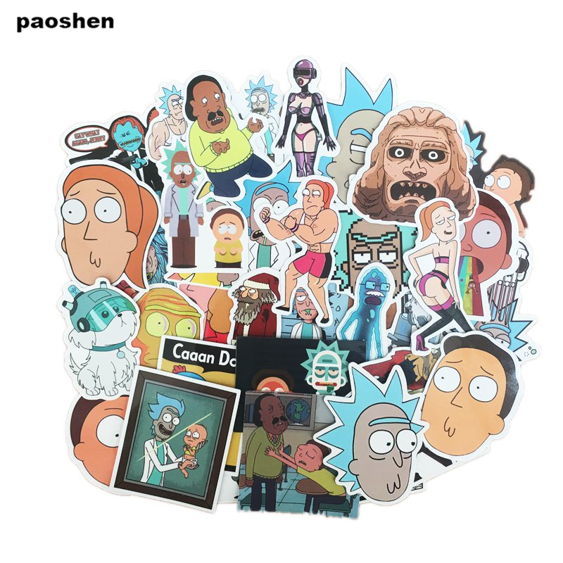 35 Pcs Rick And Morty Cartoon Pvc Waterproof Sticker For Luggage Skateboard Phone Laptop Moto Trunk Guitar Car Diy Stickers #4