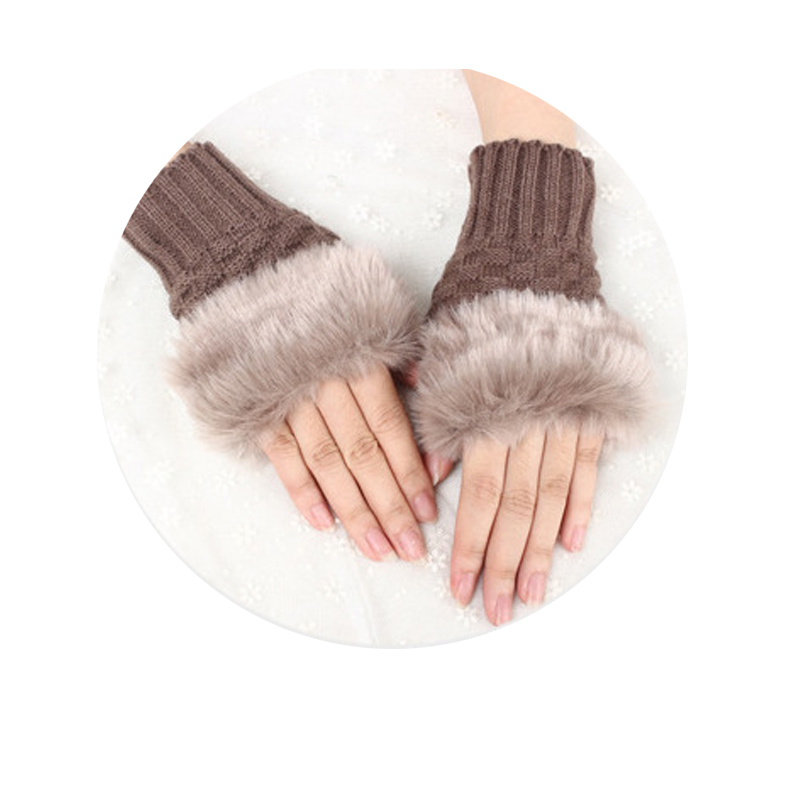 2019 Cute warm gloves Hot Pretty Faux Rabbit Hair Wrist Warmer Knitted Women Winter Fingerless Gloves SMA66 in Women 39 s Gloves from Apparel Accessories