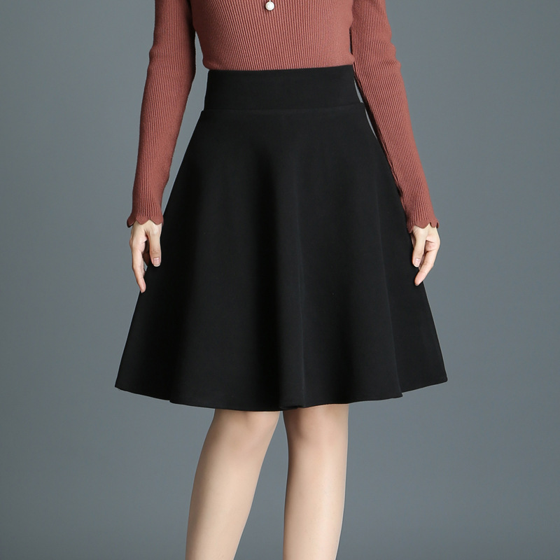 9ca9d05e3f2 2018 Autumn winter Women Wool Skirt Korean Fashion Slim Stretchy High Waist  A Line Skirt Plus