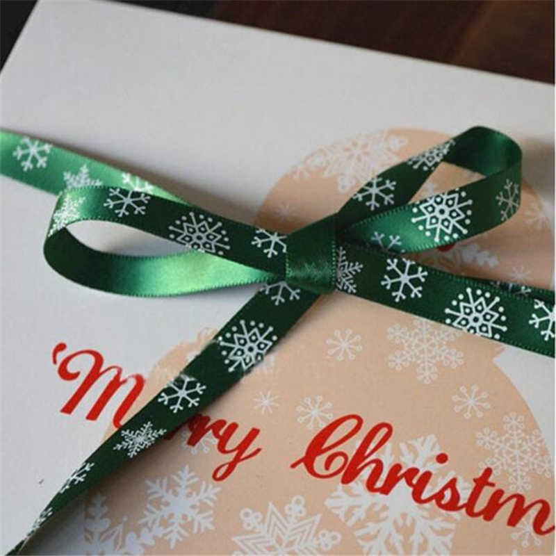 Snowflark מודפס גלישת מתנה לחג המולד חג מולד סרטי קישוט חדש שנה של סרט עבור מלאכות DIY המפלגה גלישת דקור