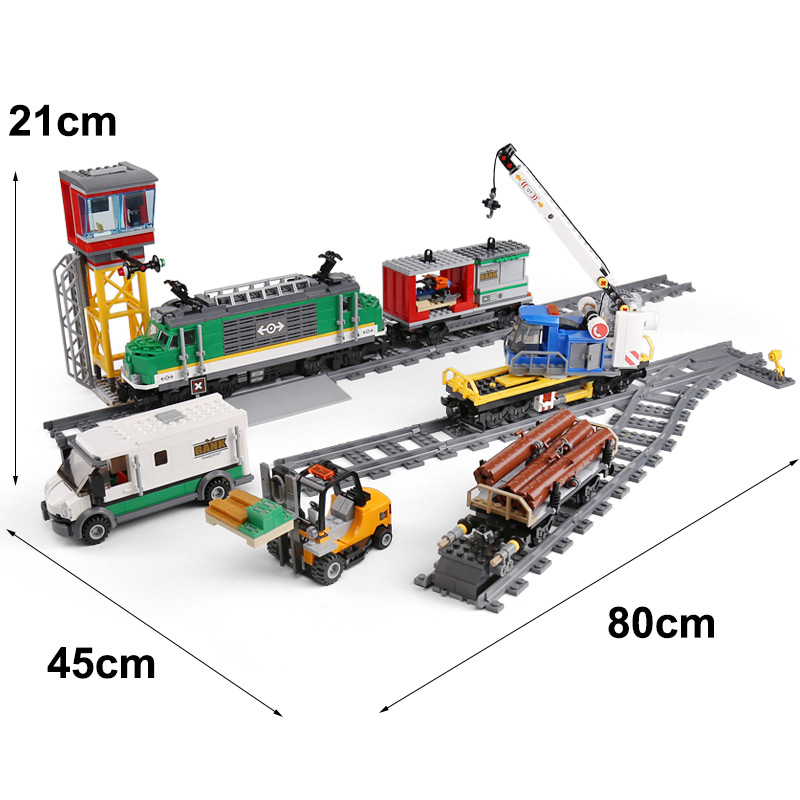 The City Trian 02118 model Compatible with 60198 Cargo Train Building Bricks Toys for children As