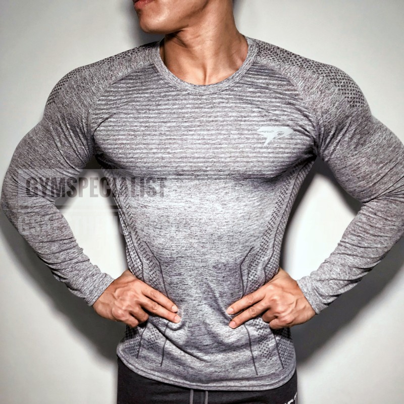2018 Autumn New Men Long sleeve Tight   T  -  shirt   Man Jogger Workout Quick dry   t     shirt   Male Tees Tops Gyms Fitness Brand Clothing
