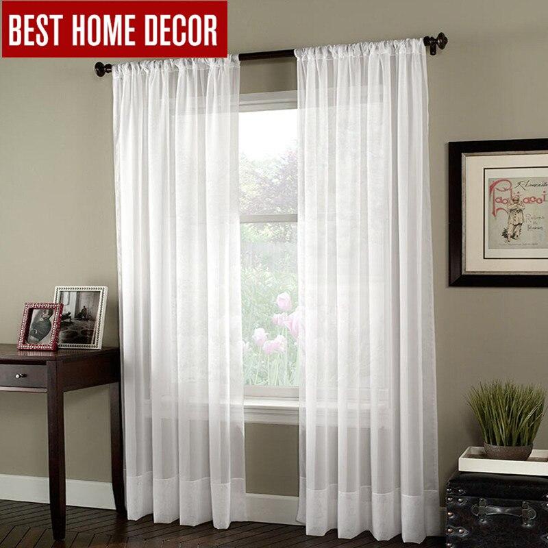 White Window Treatments Part - 46: BHD Soild Branco Tulle Sheer Janela Cortinas Para Sala De Estar Do Quarto  Moderno Tecido Tule