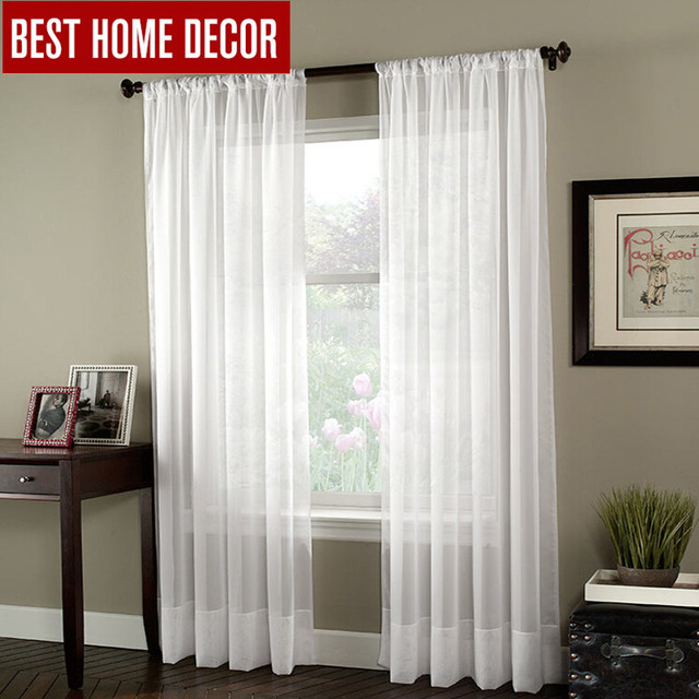 BHD Soild White Tulle Sheer Window Curtains For Living Room The Bedroom Modern Organza