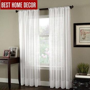 BHD solide blanc tulle pure fenêtre rideaux pour salon la chambre moderne tulle organza rideaux tissu stores rideaux