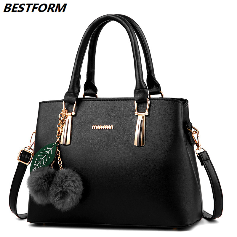 BESTFORM Women's Bag Fashion Ladies Shoulder Bag Female Luxury Handbag Colorful Hairball Large Capacity Women Messenger Bags
