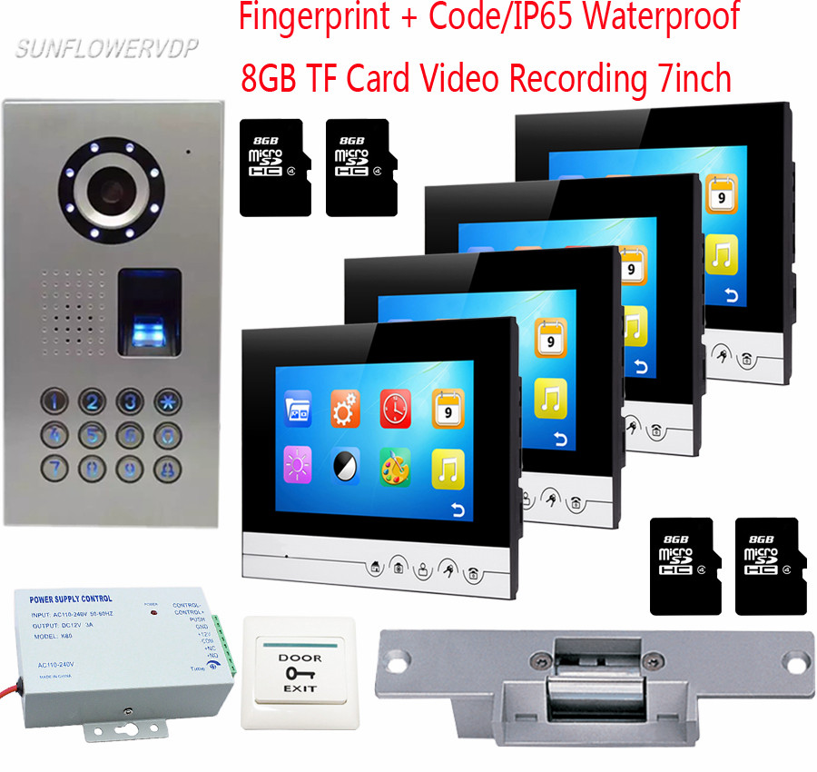 Fingerprint Doorbell With Camera 8GB TF Memory Card Recording Monitors Video Doorphones Wired Doorbell Access Keypad For 4 Units mogood intelligent doorbell camera visual doorbell cat eye type 3 screen with 8g tf memory card