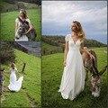 Длина пола шифон свадебное платье с цветами коротким рукавом Темно-V Шеи Белый Свадебные Платья халат де вечер 2017 люкс платья