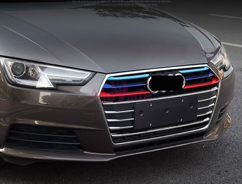 14pcs/lot 2016 2017 Front Grille Trim Bumper Cover 3 Colors Detector Chrome Car Styling ABS For Audi A4 Accessories