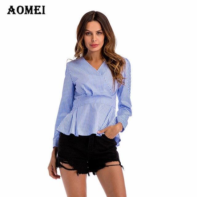 82e085873a33ee Women Gingham Peplum Tops Blouse Shirts V Neck Long Sleeve Summer Pleat  Office Ladies Fashion Lolita Spring Blusas Workwear