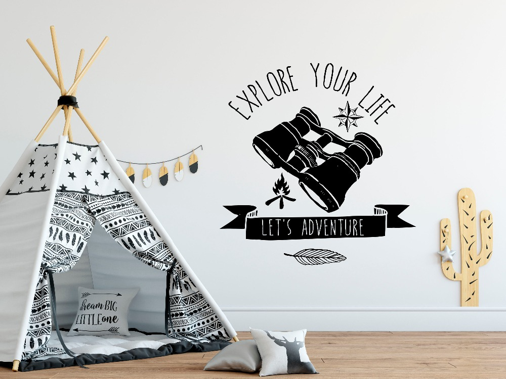 Forest Explorer Wall Sticker Inspirational Wall Decal Explore Your Life Quote Home Decoration Art Design Poster Mural Decor W61 in Wall Stickers from Home Garden