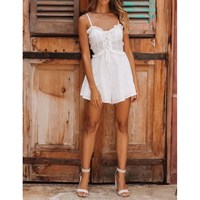 Fashion White Embroidery Spaghetti Jumpsuit 2019 Summer Women Hollow Jumpsuit Lace Up High Waist Ruffle Rompers