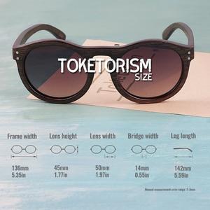 Image 4 - Toketorism עגול משקפי שמש עץ משקפי שמש גברים שיפוע עדשות מקוטבות נשים משקפיים שמש 6103