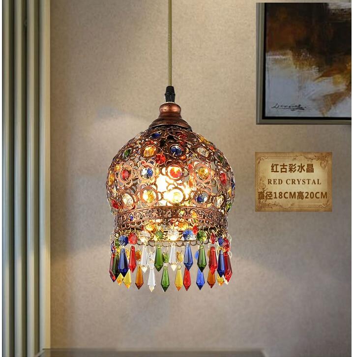 d180mm crystal pendant lamps lighting 1 head bohemian iron bar pendant light colorful crystal pendant bohemian lighting