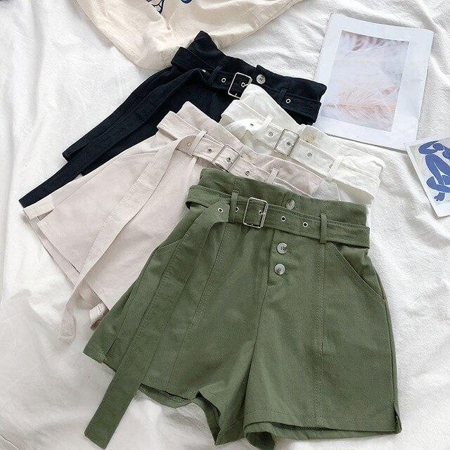 d2b316490045 € 13.53 |Verano estilo Safari pantalones cortos de las mujeres de moda  Coreana de cintura alta pantalones de pierna ancha con fajas casuales ...