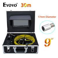 Eyoyo 30M 9 LCD 17mm Pipe Pipeline Drain Inspection Sewer Video Camera CCTV Cam CMOS 1000TVL