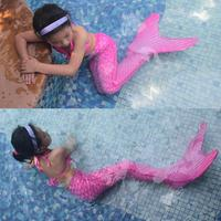 Girls Kids Mermaid Tail For Swimming With Monofin Swimmable Wear Cosplay Costumes