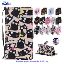 Cartoon Leather Flip Case for Huawei P8 Lite Phone Cover Stand Wallet Magnet Closure Card Slot Silicone Case for Huawei P8 Lite