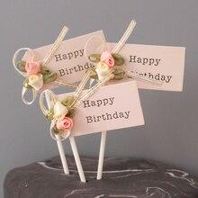 3 шт./партия, Шелковый цветок, топпер для торта «С Днем Рождения», украшение торта на день рождения, детский душ, детский подарок на день рождения, свадьбу
