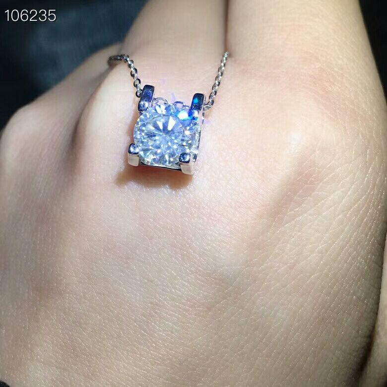 [MeiBaPJ] 2 Carats Moissanite Gemstone Classic Simple Pendant Necklace For Women Real 925 Solid Silver Fine Jewelry