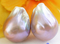 Hot Sale Free Shipping Unusual 20mm Nature Lavender Keshi Reborn Pearl Earring 14k