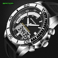 Hot Sale Men Watches Brand SANDA Sport Diving LED Display Wristwatch Fashion Casual Rubber Strap Watch