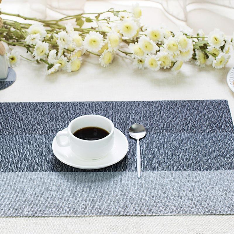 45x30CM Fashion Non-Slip Table Mat PVC Heat Insulation Braided Rectangular Placemat Kitchen Restaurant Bowl Plate Pad E2