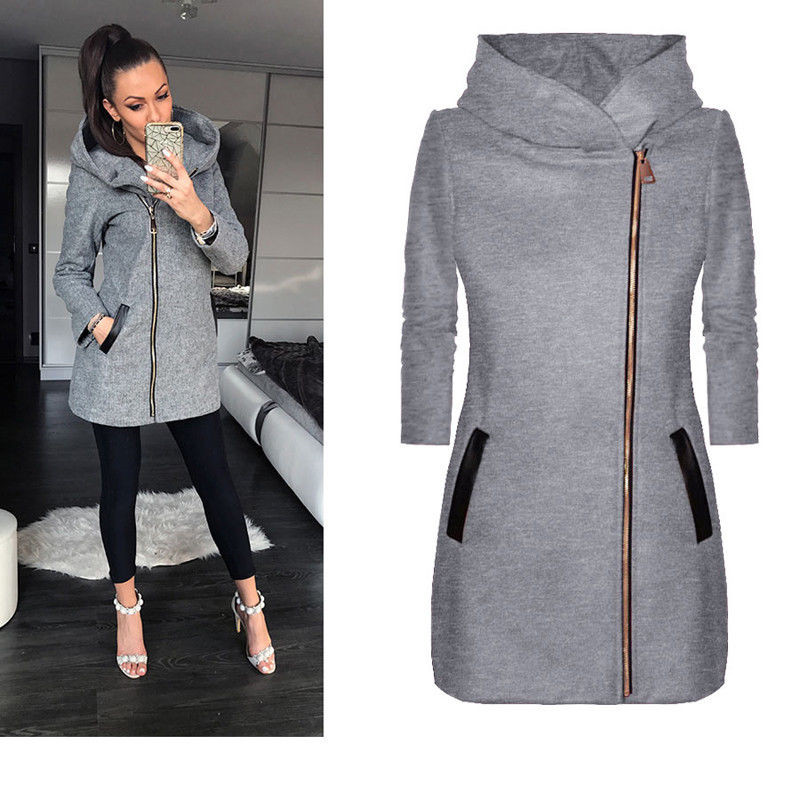 Women Winter Clothes Warm Jacket Side Zipper Hooded Coat