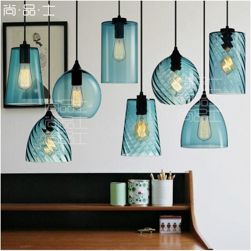 High Quality Vintage Handmade Blue Crystal Glass LED E27 Pendant Light For Dining Room Restaurant Bar Pendant Lamps 1443 vintage handmade carved crystal glass bulbs led g9 pendant light for dining room living room bar restaurant lamps 1484