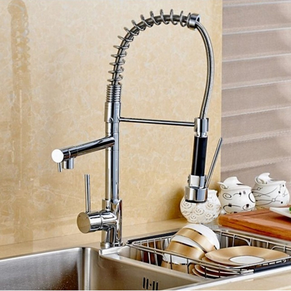 Ulgksd Chrome Solid Brass Pull Down Spray Kitchen Sink Faucet Deck Mounted Mixer Tap