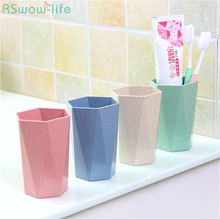2Pcs Nordic Style Thickened Wheat Straw PP Diamond Cup Gargle Household Couple Toothbrush Shaped Pure Color Rhombus Geometry