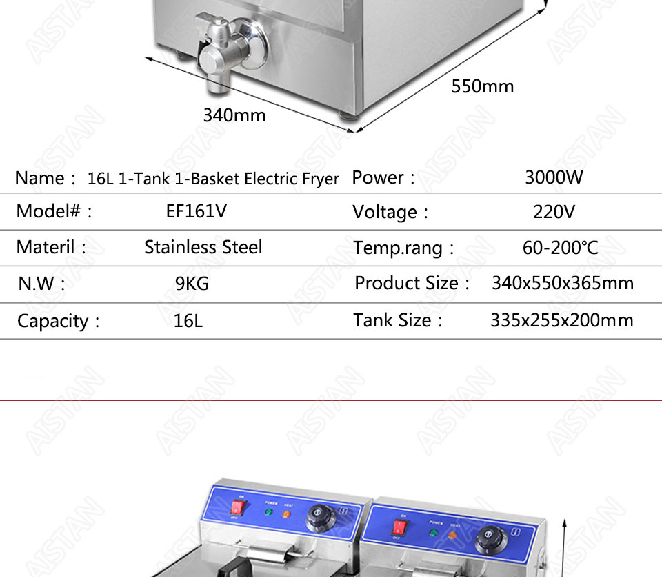 EF101V stainless steel electric deep fryer fried chicken fried potato chips for kitchen appliance 16