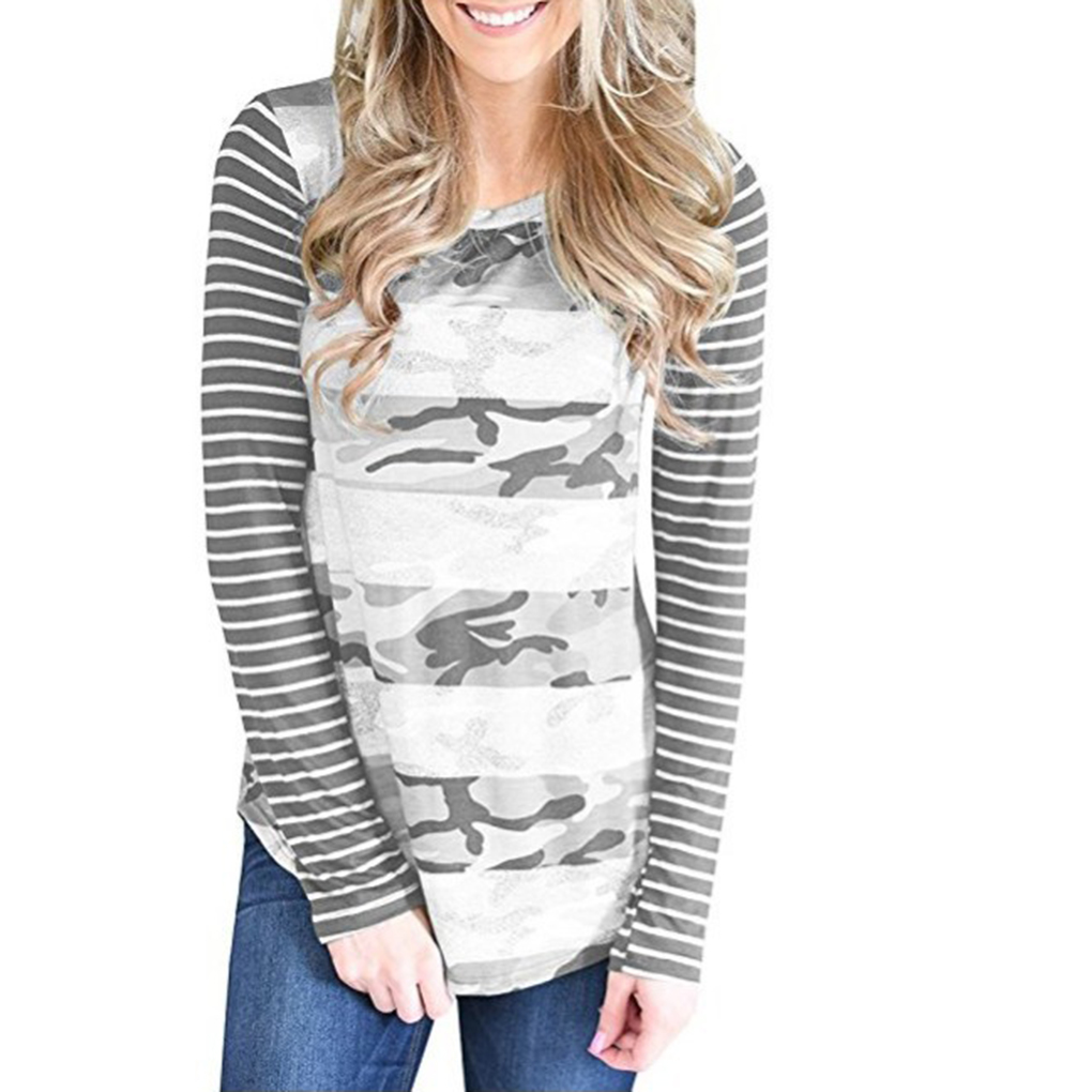 New style Female Scoop Neck Elastic Color Patchwork Shirt Girl Long Sleeve Top Causal Tee
