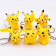 6 pçs/lote Amarelo Kawaii Pikachu 3D Mini Led Keychain Anime Ir Chave Chians Chave Titular Pingente Figura Brinquedos Frete Grátis(China)